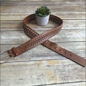 CALVIN KLEIN. Brown leather braided belt. Size L.